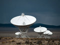 Very large array rainstorm antenna at the radio telescope during a Stock Photos