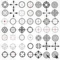 Very large collection of icons, symbols, weapons sights, target, ,sniper scope. Isolation on a white background.