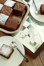 Very low fat brownies selective focus Stock Image