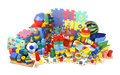 Very many toys on white Royalty Free Stock Photo