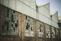 Very old abandoned warehouse in steel industry. Royalty Free Stock Photo