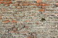 Very old brick wall at exterior of ancient fortress Stock Photos