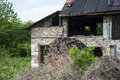 Very old destroyed house brick abandoned Stock Images