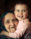 Very old grandmother with granddaughter Royalty Free Stock Photography