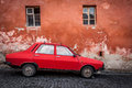 Very old romanian car photo taken in romania sighisoara Stock Photography