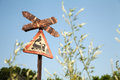 Very old rusty road sign with a train picture - railroad crossing Royalty Free Stock Photo