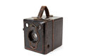 Very old vintage camera on white background isolated Stock Photo