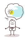Very optimistic cartoon man Royalty Free Stock Photo