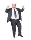 Very overweight cheerful businessman Royalty Free Stock Photo