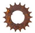 Very rusted vintage gearwheel isloated on white background Stock Photos