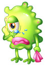 A very sad monster illustration of on white background Royalty Free Stock Photography