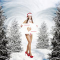 Very sexy christmas girl holding empty white board Royalty Free Stock Photo