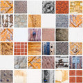 Very special white ceramic tile made of different themes with squares in square form colors and materials Stock Photography