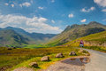 Very steep road in great langdale valley england hdr image Stock Photo