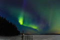 Very strong aurora borealis jyvã skylã  finland outside was celcius sky was clear Royalty Free Stock Images