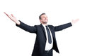 Very successful business man stretching arms wide open Royalty Free Stock Photo
