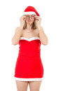 Very tired mrs claus after lot of work Royalty Free Stock Photography
