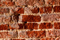 Very very old brick wall, closeup, natural light Royalty Free Stock Image