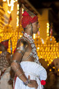 A ves dancer up country dancer waits for the commencement of the esala perahera in kandy sri lanka is held to Royalty Free Stock Photos