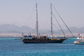Vessel in the egypt red sea an the mountains background Royalty Free Stock Photography