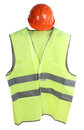 Vest construction hard hat and high visibility on a white background Royalty Free Stock Photography