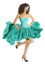 Vestido de ondulação da dança da mulher dançarino flying fashion model Fotos de Stock Royalty Free