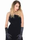 Vestido sedutor de coy young woman wearing black Fotos de Stock