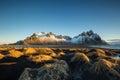 Vesturhorn Mountain and black sand dunes Royalty Free Stock Photo