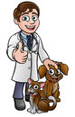 Vet Cartoon Character with Pet Cat and Dog Royalty Free Stock Photo