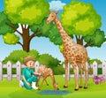 A Vet Checkup Giraffe at Zoo Royalty Free Stock Photo