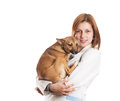 Vet female dog white background isolated Royalty Free Stock Photography