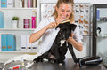 Vet with his dog American Staffordshire Royalty Free Stock Photo