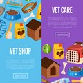 Vet shop poster in cartoon style Royalty Free Stock Photo