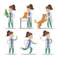 Vet Woman Cartoon Character Set. Pets Health Care