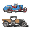 Veteran drawing of tvo sport classic cars czech aero and italy ceirano Stock Photos