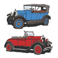 Veteran drawing of two classic cars old timers peugeot and praga Stock Photography