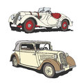 Veteran drawing of two germany classic cars roadster bmw and cabriolet rohr junior Royalty Free Stock Photo