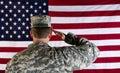 Veteran Male Solider Saluting ...