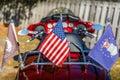 Veteran Patriotic Bike and Flags Royalty Free Stock Photo