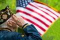 Veteran salutes the us flag during a memorial day service Stock Photos