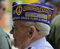 Veteran wears decorative hat with patches wwii and korean war proudly a displaying his military service combat wounded purple Royalty Free Stock Photo
