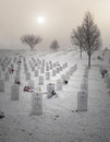 Veterans cemetery winter scene of in culpeper virginia Royalty Free Stock Photography