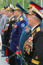 Veterans at ceremony of wreath laying Royalty Free Stock Image