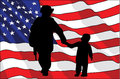 Veterans Day. An American soldier and a child. American flag. vector illustration Royalty Free Stock Photo