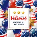 Veterans day greeting illustration. White plate with lettering on patriotic background. Vector.