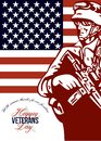 Veterans day modern american soldier card greeting poster showing illustration of an serviceman carrying armalite rifle with stars Royalty Free Stock Photos