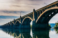 The Veterans Memorial Bridge reflecting in the Susquehanna River Royalty Free Stock Photo