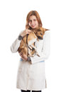Veterinarian diagnoses puppy white background isolated Stock Image