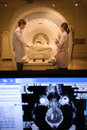Veterinarian doctor working in mri scanner room with monitor foreground Stock Photography