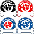 Veterinary Circle Labels Design With Love Paw Dog. Collection Set Royalty Free Stock Photo